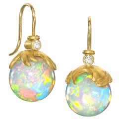 Lilly Fitzgerald Handcarved Opal Sphere Diamond Gold Drop Earrings