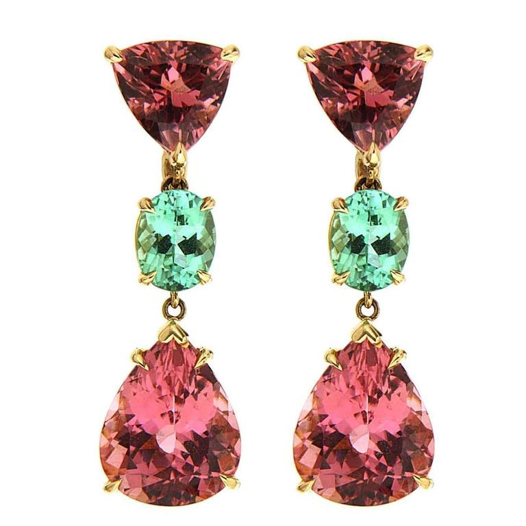 Valentin Magro Pink and Green Tourmaline Gold Earrings