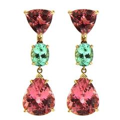 Pink and Green Tourmaline Gold Earrings