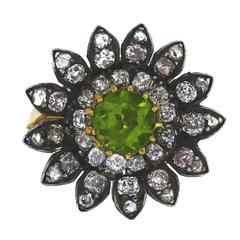 1800s Victorian Peridot Silver Over Gold Ring