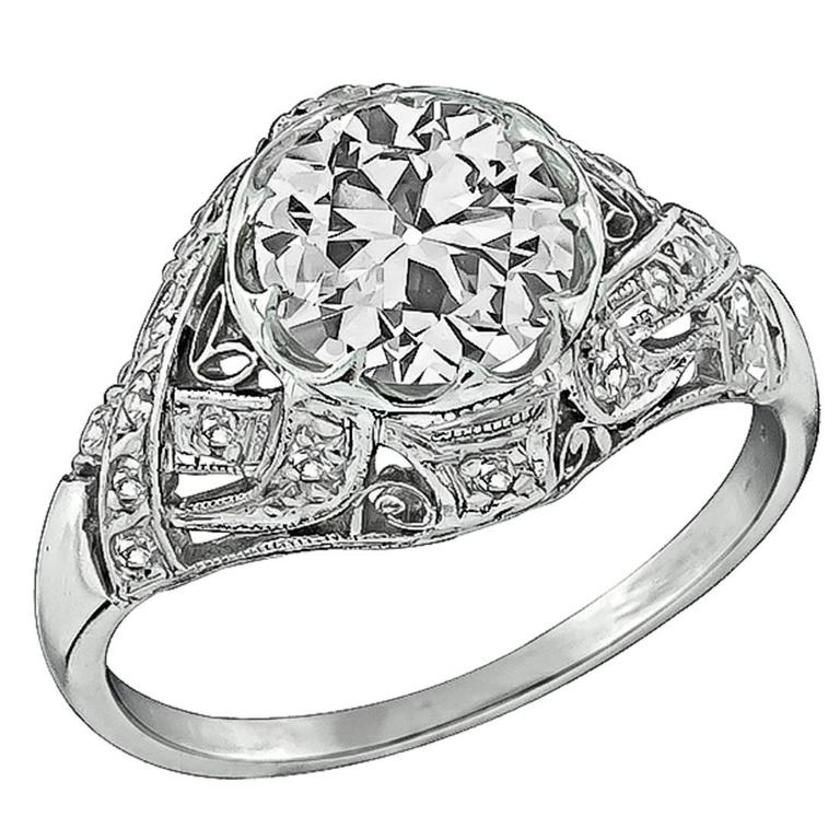 1.92 carat GIA cert Diamond Platinum Engagement Ring