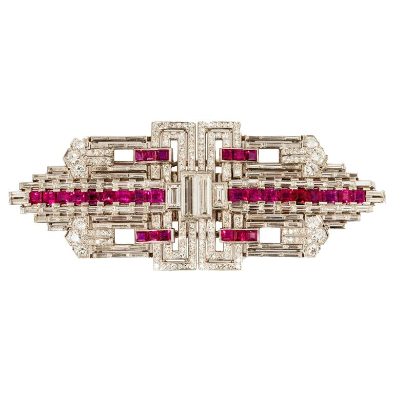 Art Deco Ruby Diamond Platinum Double Clip For Sale