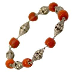 Art Deco Coral Bead and Diamond Bracelet