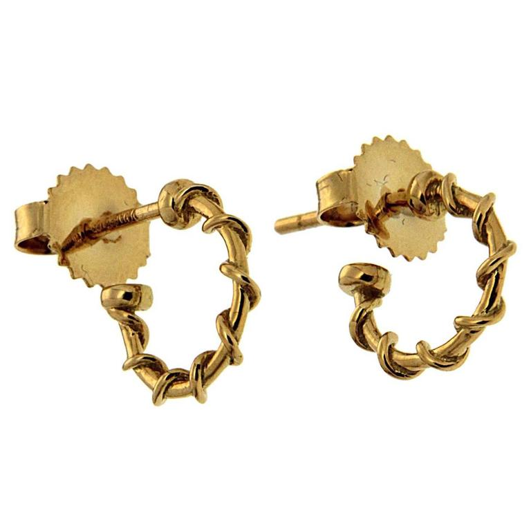 Extra Small Gold Rope Hoop Nautical Earrings For