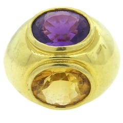 Tiffany & Co. Paloma Picasso Amethyst Citrine Gold Large Dome Ring