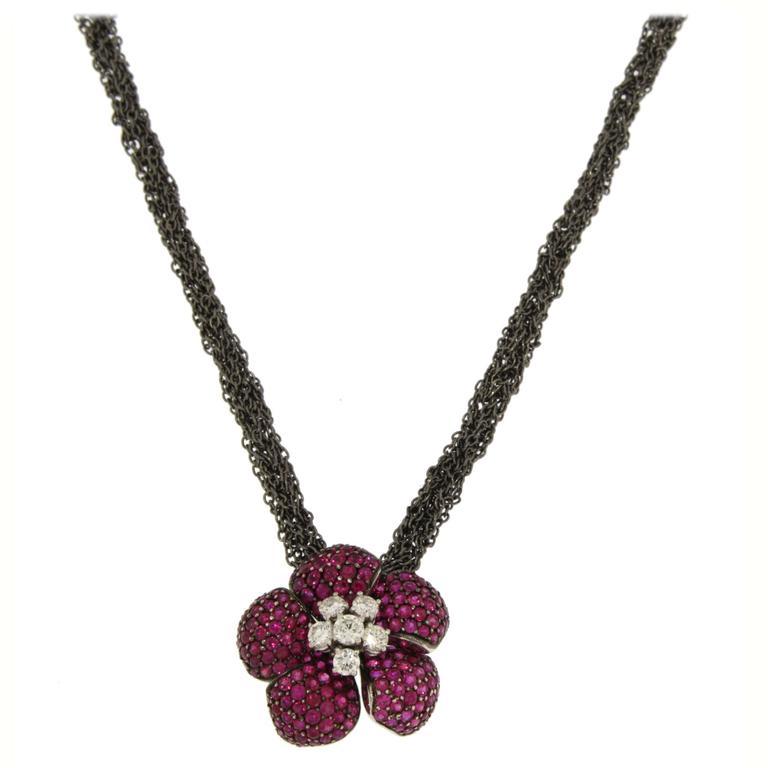Jona Ruby White Diamond 18 Karat Gold Flower Pendant on Silver Chain Necklace