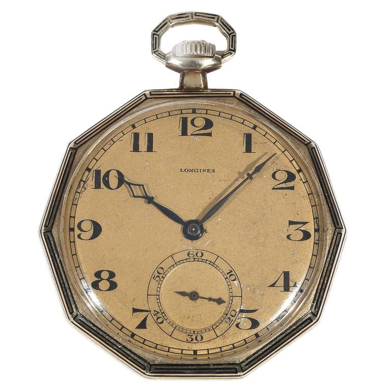Longines Yellow Gold Enamel Decagon Shape Open Faced Pocket Watch