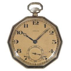 Longines yellow Gold Enamel Decagon Shape open Faced Pocket Watch