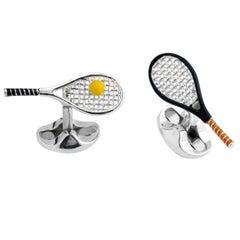 Deakin & Francis Silver Tennis Racket and Ball Cufflinks