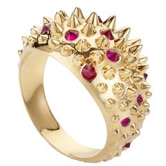 Hannah Martin London Ruby Gold Spiked Ring