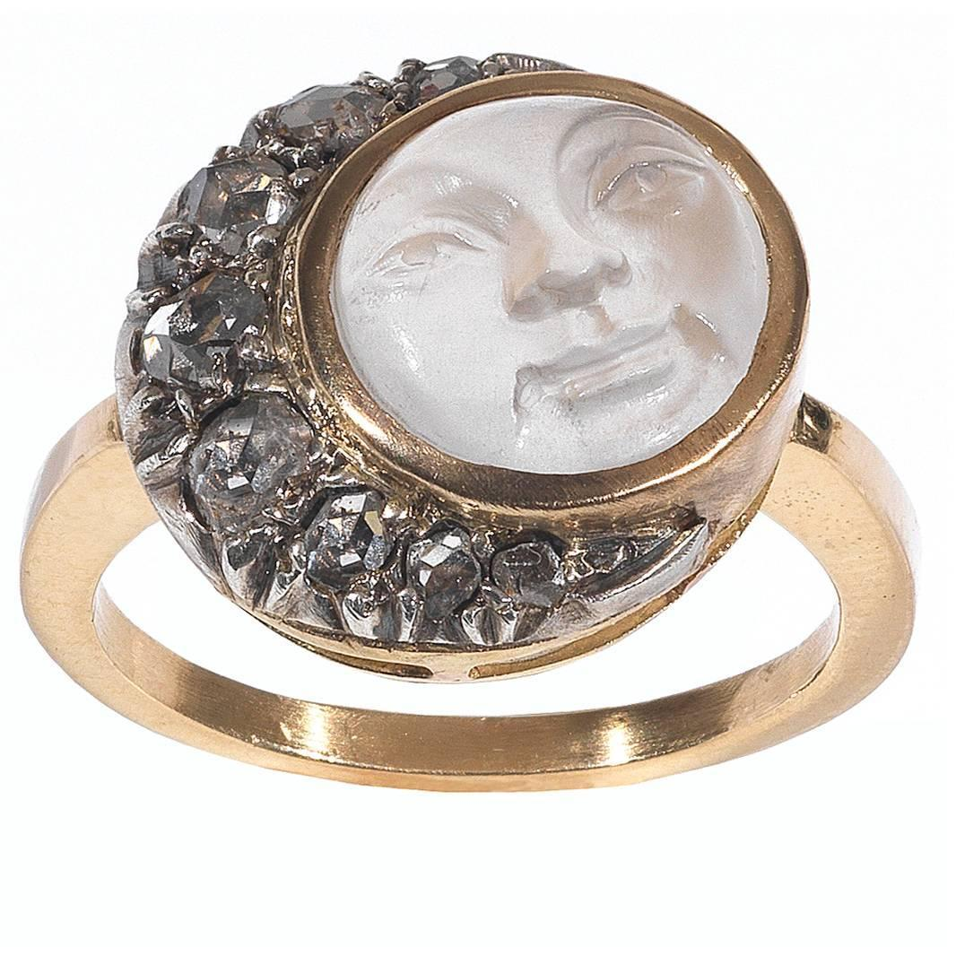 Antique Carved Moonstone Diamond gold Man in the Moon Ring at 1stdibs