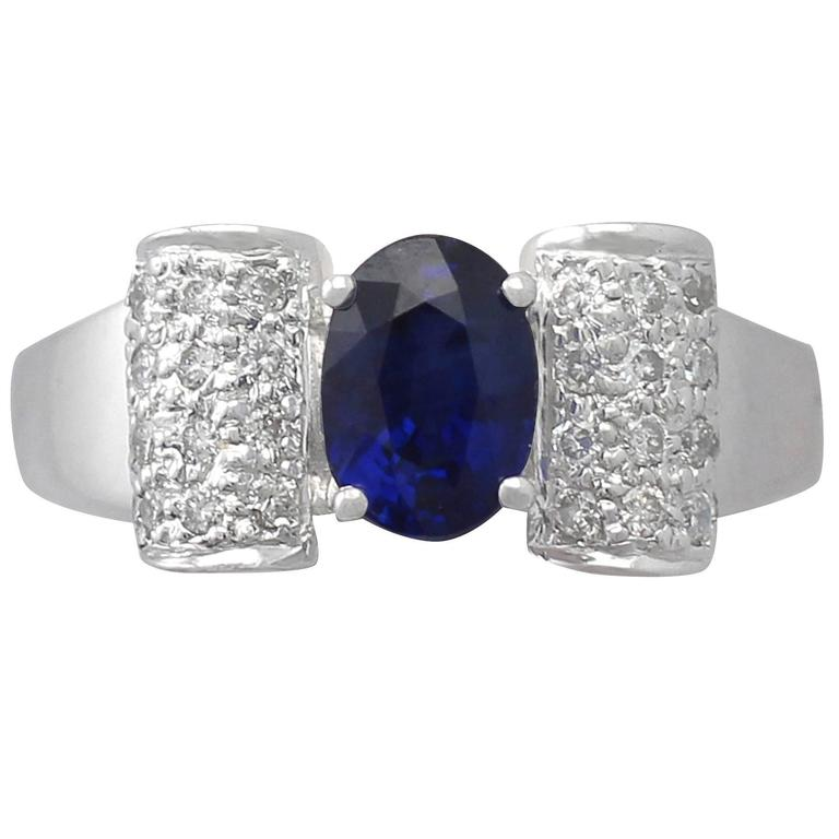 1990s 1.69 Carat Sapphire & Diamond White Gold Cocktail Ring