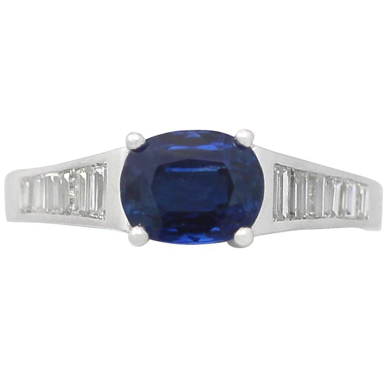 1990s 1.20Carat Sapphire & Diamond White Gold Cocktail Ring
