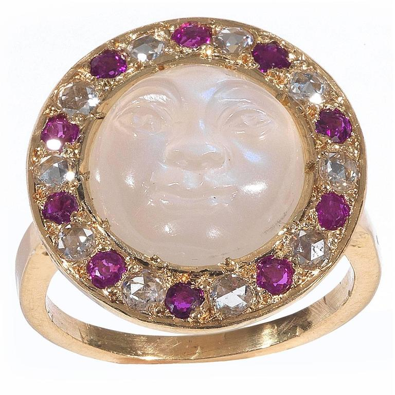Carved Moonstone Ruby Diamond Gold Man in the Moon Ring 1