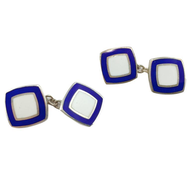 Sterling Silver Enamel Cufflinks