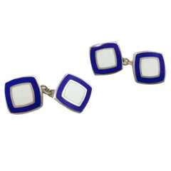 Jona Sterling Silver Blue White Enamel Cufflinks