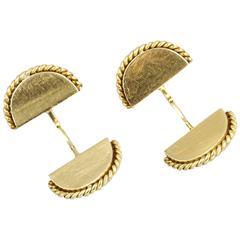 CARTIER PARIS Art Deco Gold Rope-Edge Fan Cufflinks