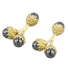 Tiffany & Co. Schlumberger Hematite and Gold Double Acorn Cufflinks