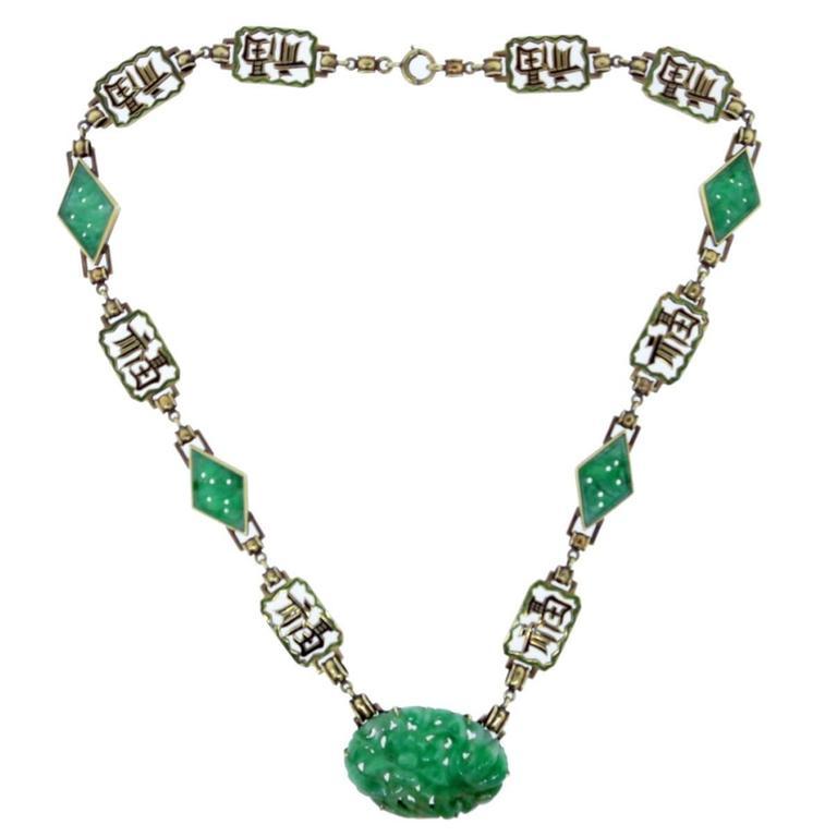 """ Long Happy Life "" Carved Jade And Enamel Necklace"