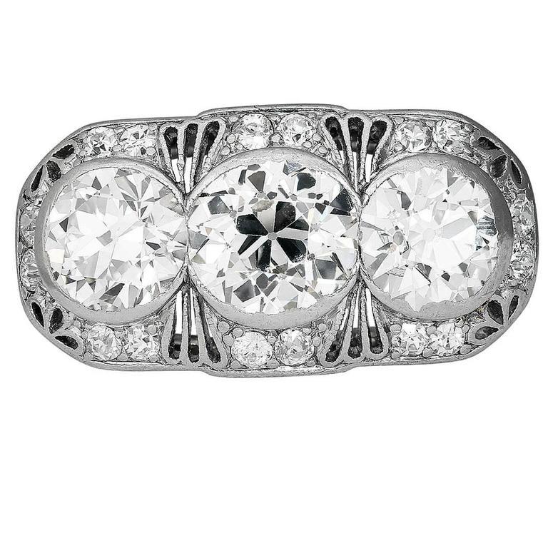 Antique Three-Stone Diamond Platinum Ring