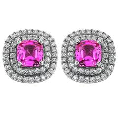 Pink Sapphire gold cluster Earrings
