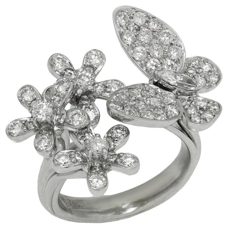 Diamond 18k White Gold Butterfly Flower Ring