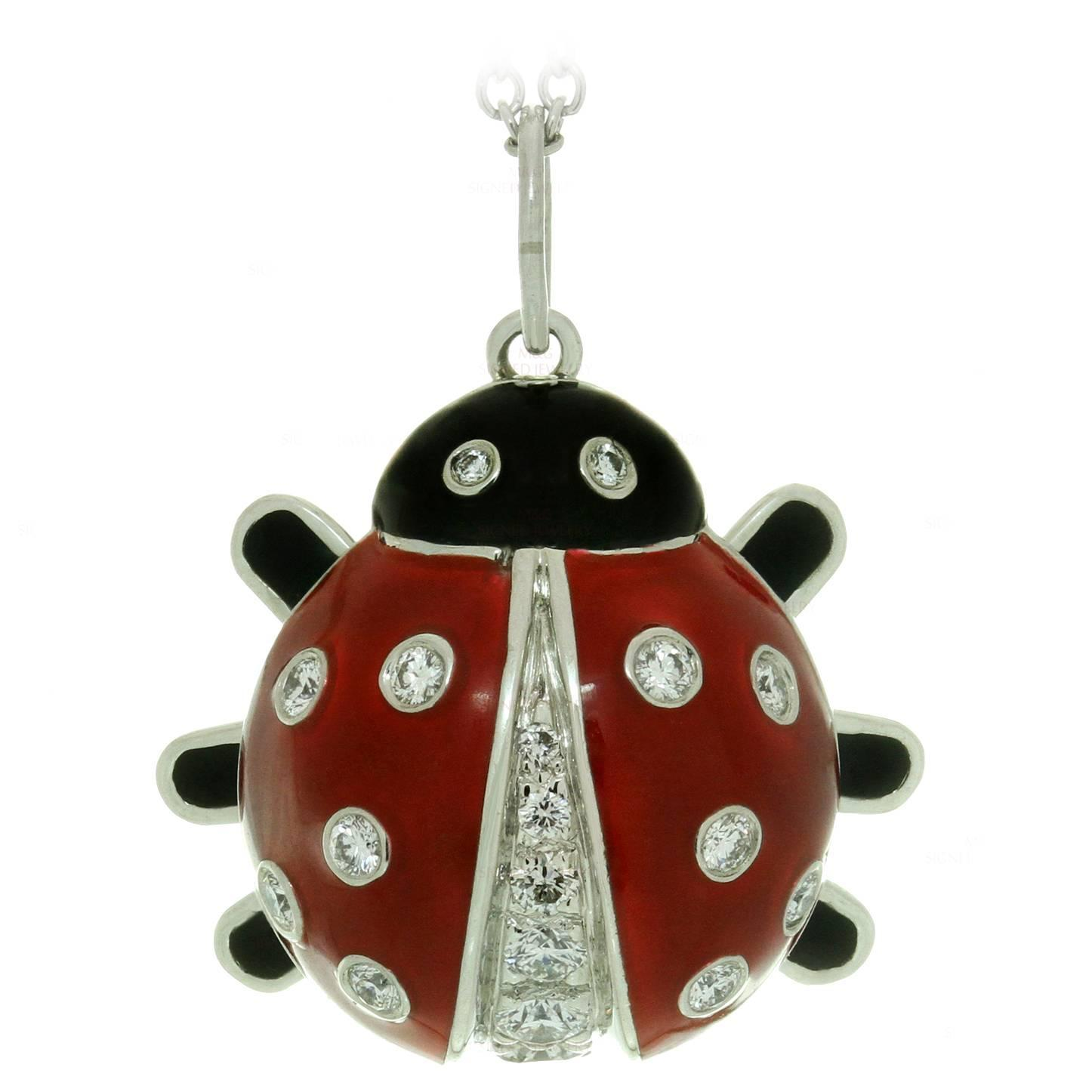 Tiffany And Co Enamel Diamond Platinum Ladybug Pendant