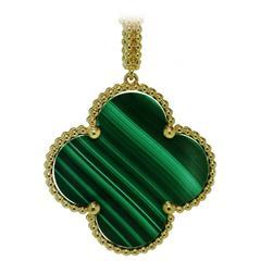 Van Cleef & Arpels Alhambra Malachite Gold Pendant Necklace
