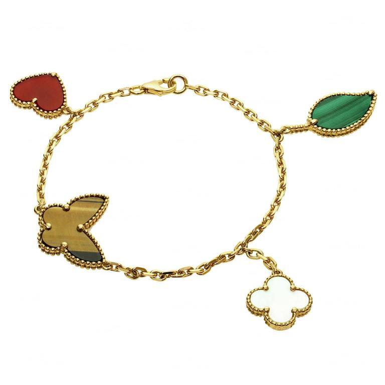Van Cleef & Arpels Lucky Alhambra Gemstone Gold Bracelet For Sale