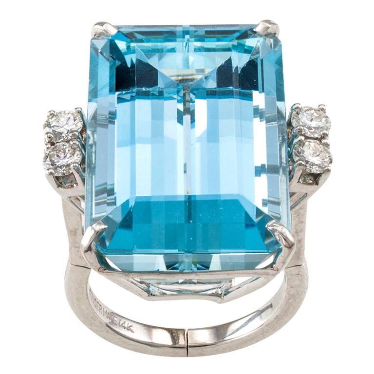 1950s 30.00 Carat Aquamarine Diamond Gold Ring