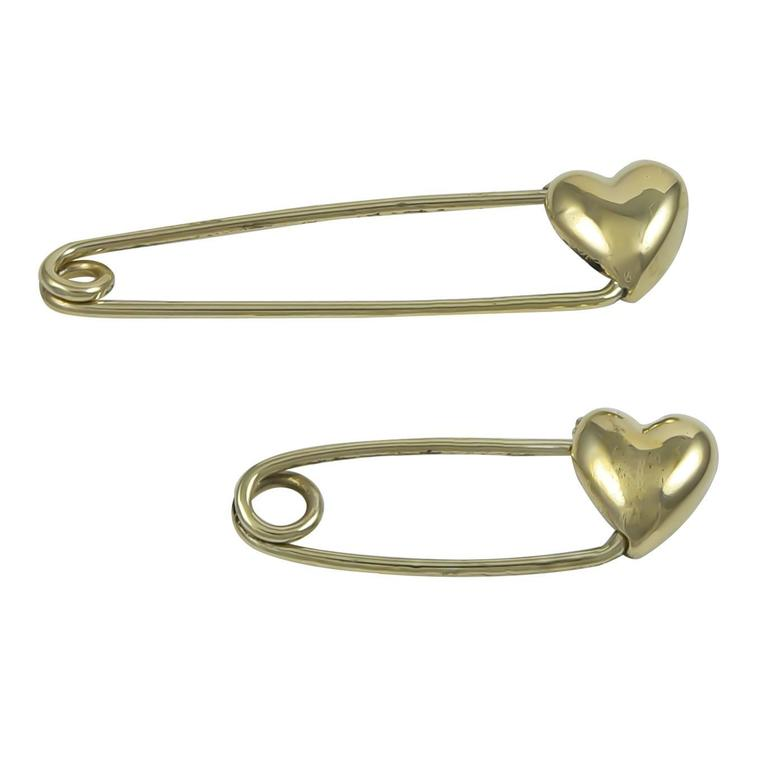 Two Gold Safety Pins with Hearts For Sale