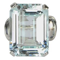 Modernist Aquamarine White Gold Ring