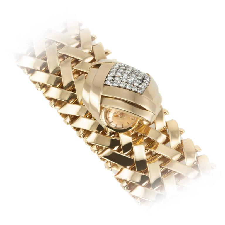 Vacheron & Constantin lady's yellow Gold Diamond Bracelet wristwatch For Sale
