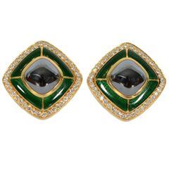 Tiffany & Co. Enamel Hematite Gold Earclips