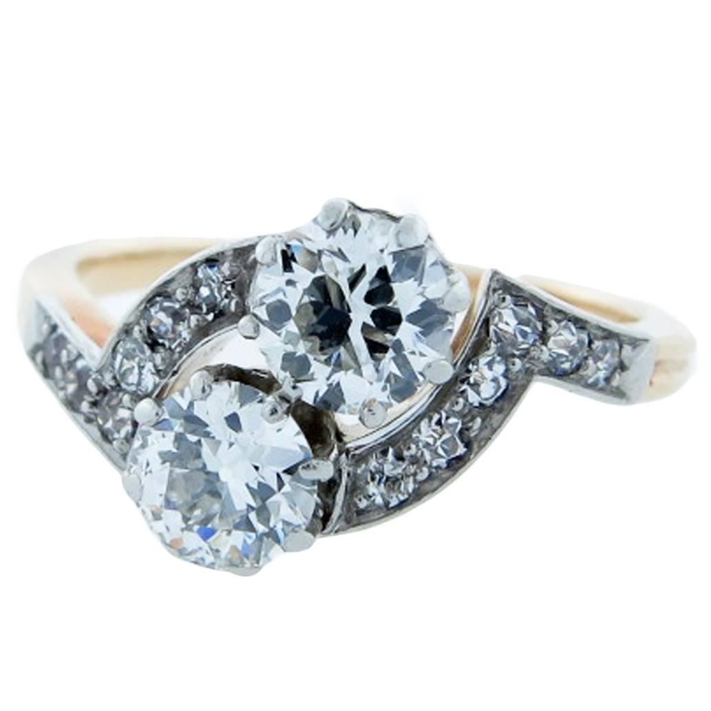 toi et moi edwardian gold platinum engagement ring