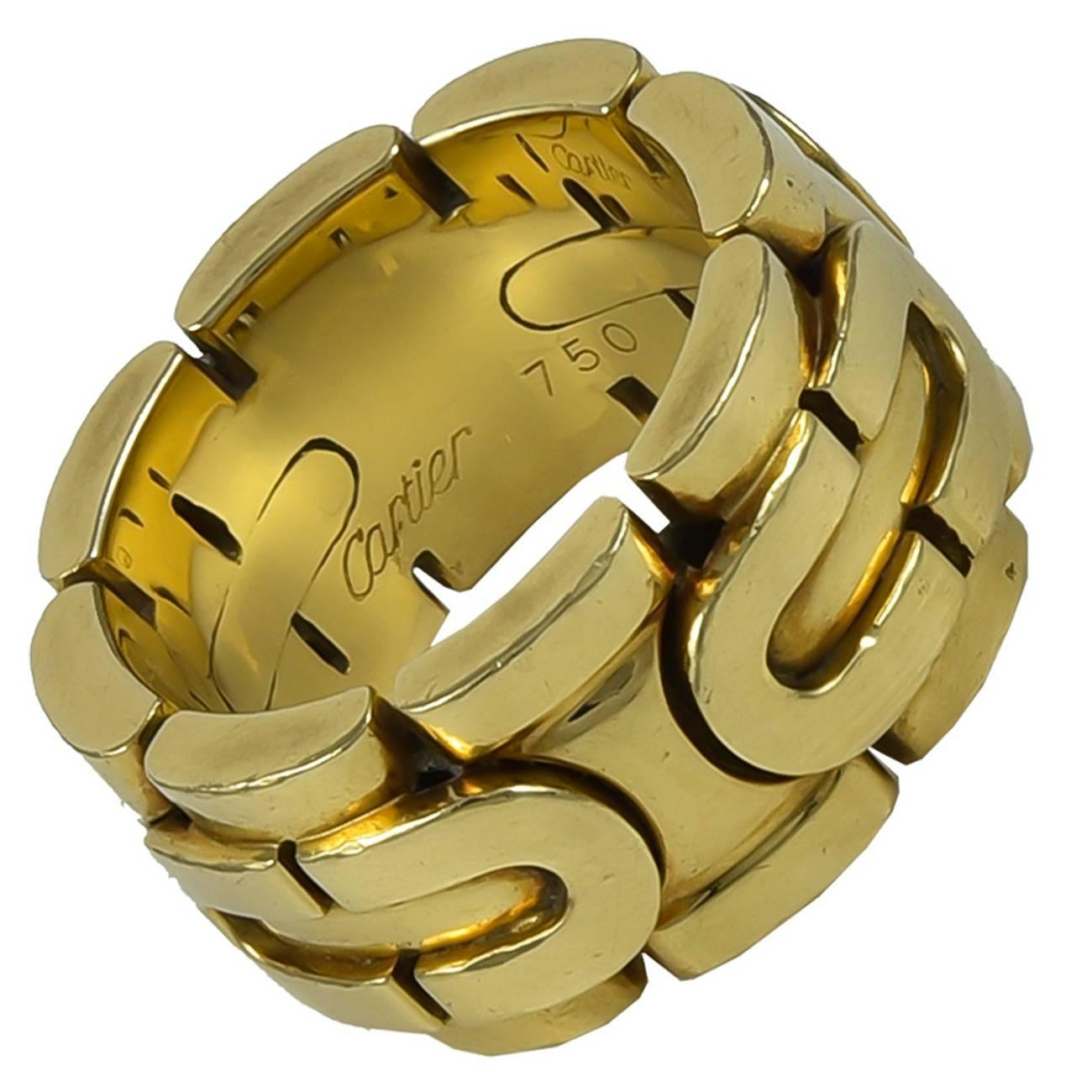 cartier wide gold band ring at 1stdibs