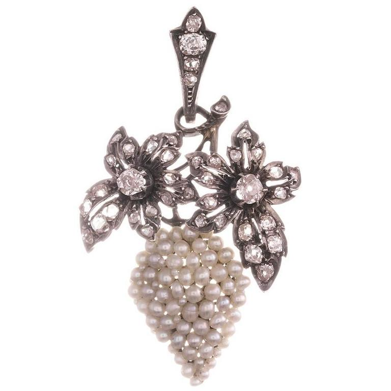 Victorian Seed Pearl Diamond Silver Gold Grapes Motif Pendant