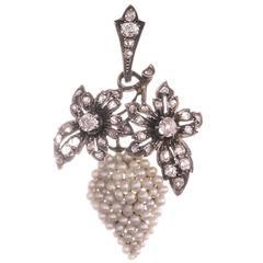 Victorian Seed Pearl Diamond Silver Gold Grapes Motif Pendant