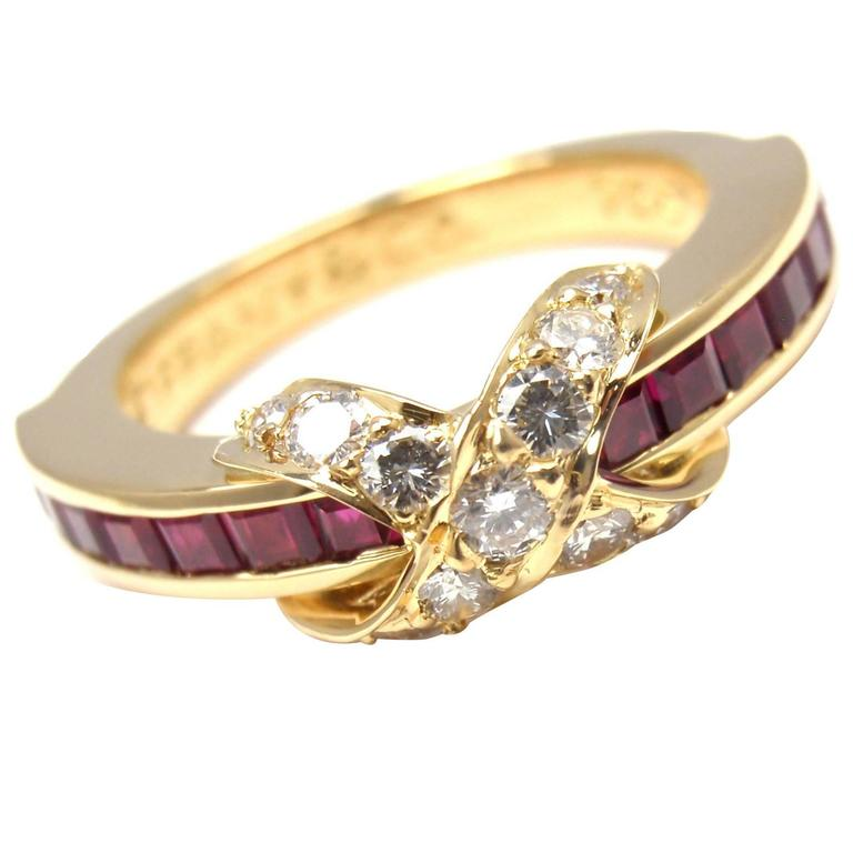 Tiffany And Co Ruby Diamond Gold X Band Ring At 1stdibs