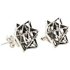 Framework Silver Stud Earrings