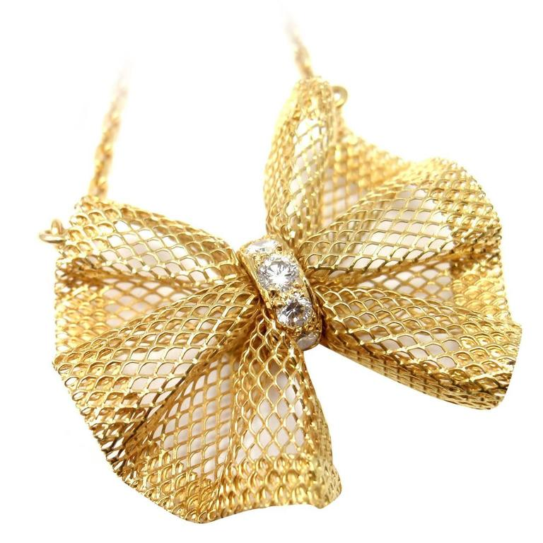 Van Cleef & Arpels Diamond Gold Bow Pendant Necklace For Sale