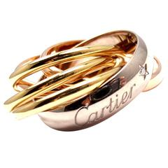 Cartier Trinity Six Band Diamond Tri-Color Gold Band Ring