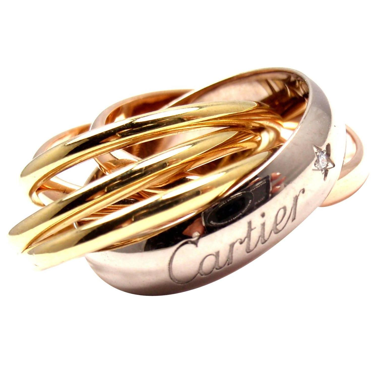 Cartier Trinity Six Band Diamond Tri Color Gold Band Ring For Sale