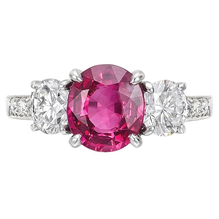 2.05 Carat GIA Cert Burmese Ruby Diamond platinum Ring For Sale