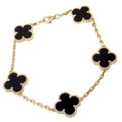Van Cleef & Arpels Black Onyx Gold 5 Motif Vintage Alhambra Bracelet