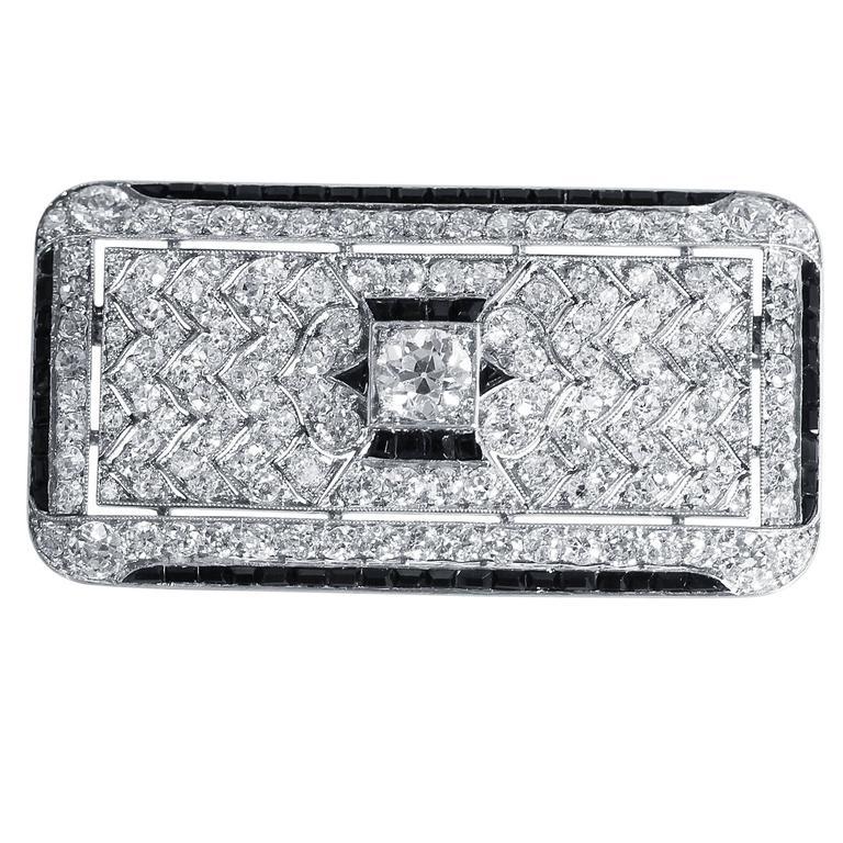 1924 Cartier Art Deco Onyx Diamond Platinum Brooch