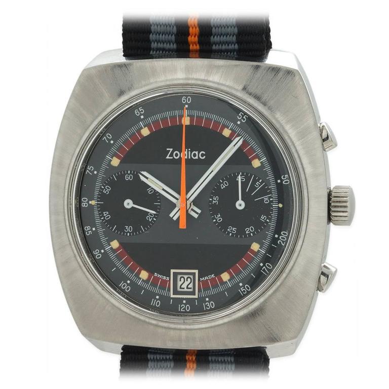 Zodiac Stainless Steel Chronograph Wristwatch circa 1970s