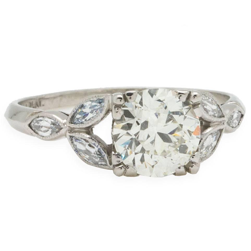 1940s platinum solitare engagement ring for sale