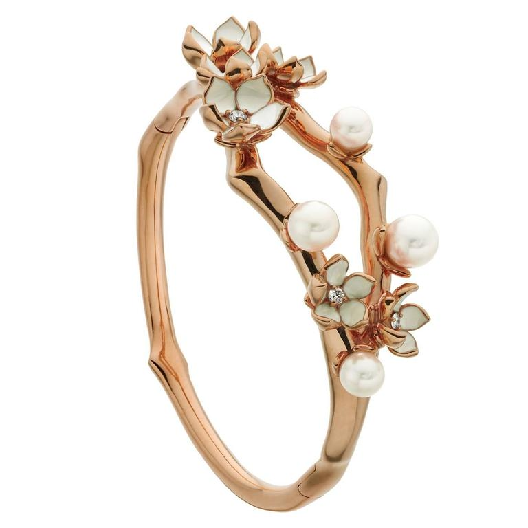 Shaun Leane Cherry Blossom Cuff in Rose Gold Vermeil with Diamonds For Sale