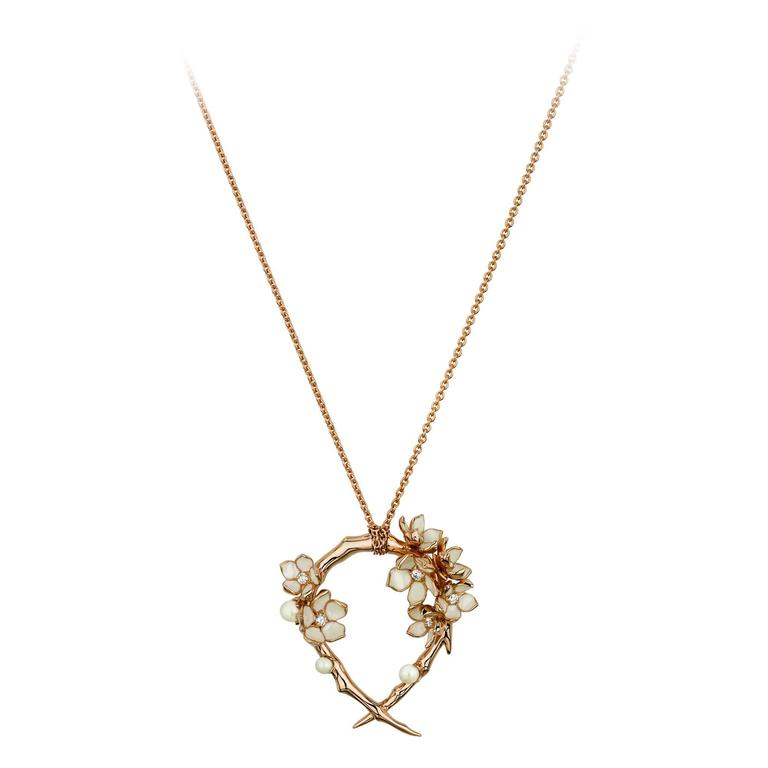 Shaun Leane Cherry Blossom Hoop Necklace in Rose Gold Vermeil